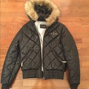 BABY PHAT SMALL QUILTED LEATHER PUFFER FAUX FUR